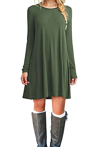 VIISHOW Damen Basic Causal Tunic Top Mini T-Shirt Kleid (Armeegrün XL) (Shirt Grünes Kleid)