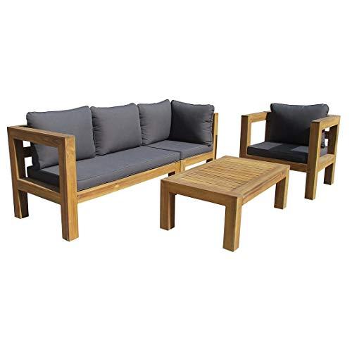 OUTLIV. Loungemöbel Outdoor Seram-Cubic Sofagruppe 4-teilig Akazie/Polster Gartenlounge Outdoor Lounge Garten Terrasse Balkon