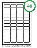 50 Fogli qualità Senza scritte Etichette - 40 per A4 foglio (2000 etichette) - 45.7 x 25.4mm, Adesivi, Indirizzo, Getto d'inchiostro, Laser o Copiatrice, Non Jam, Bianco Opaco