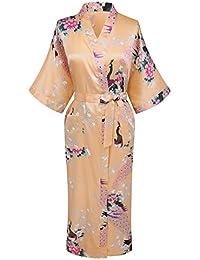 eb90827630 Vogue Forefront Women s Peacock Flower Print Long Kimono Robe Dressing Gown