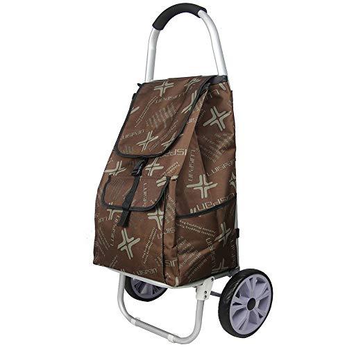 HLDUYIN Warenkorb mit Rädern Treppensteiger Trolley, strapazierfähiges Rad Roll Push Trolly, Einkaufen Lebensmittel Faltbare Cart Condo Apartment,Braun -