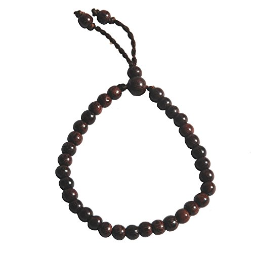 Handarbeit verstellbar Tension 5,5x 6,5mm Bead Exotic Tamarinde Baum Holz tasbih, Armband Holzperlen 33-Beads