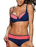 Marko Nancy M-330 Bikini Set Dame Strandmode regulierbar normaler Bund zweifarbig Bügel EU, Größe 75G/L, blau-Lachsfarben
