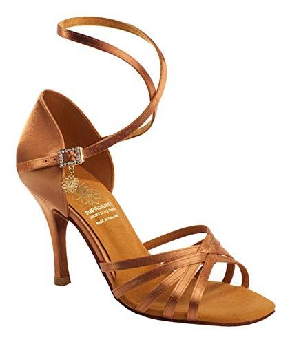 Supadance Style 1143 Damen Tanzschuhe, Satin, gekreuztes Obermaterial mit 5 Riemen und langem Riemen, Dark Tan Satin, Dark Tan - Größe: 40.5