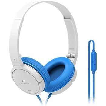 Soundmagic P11S Portable Headphones (White/Blue) with Microphone