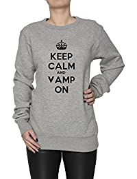 Keep Calm And Vamp On Mujer Sudadera Jersey Pullover Gris Algodón Women's Jumper Sweatshirt Pullover Grey