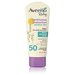 AVEENO Baby Continuous Protection Sensitive Skin Lotion Zinc Oxide Sunscreen SPF 50 3 oz
