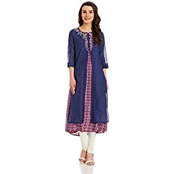 BIBA Women's Angrakha Kurta (INDIGO12571_blue_x-large)