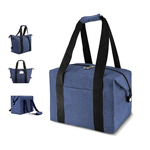MODARANI Große Weiche Isolierte Lunch Tasche Klappbar Kühler Wiederverwendbar Picknick Lunch Lebensmittels Tasche Large dunkelblau -