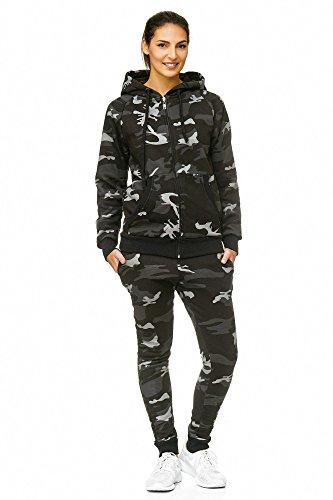 Violento Damen Jogging-Anzug | 100% Baumwolle | Trainings-Jacke mit Reißverschluss |Hose mit Tunnelzug und Zugband | Uni 586 | S-3XL (XXL, Camouflage)