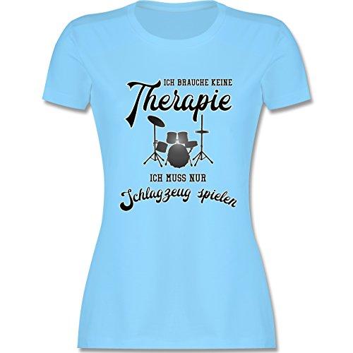 Instrumente - Ich brauche keine Therapie ich muss nur Schlagzeug spielen - tailliertes Premium T-Shirt mit Rundhalsausschnitt für Damen Hellblau