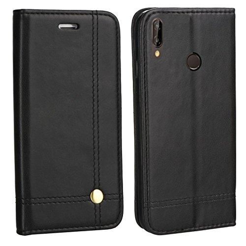 MOELECTRONIX Edle Buch Klapp Tasche SCHWARZ Flip Book Case Schutz Hülle Etui für Huawei P20 Lite Dual SIM ANE-L21