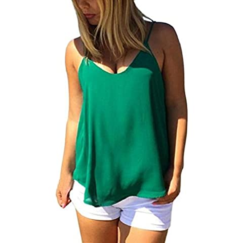 Amlaiworld Gilet donna,Canottiere di sciolto camicia Casual estivo senza maniche in Chiffon camicetta (verde, L)