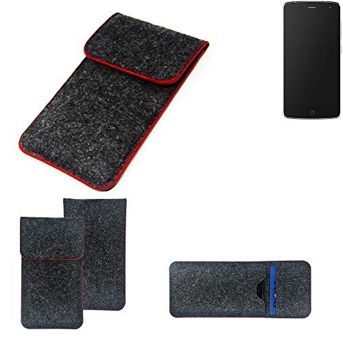 K-S-Trade® Filz Schutz Hülle Für -Alcatel Flash- Schutzhülle Filztasche Pouch Tasche Case Sleeve Handyhülle Filzhülle Dunkelgrau Roter Rand