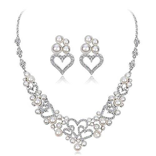 Liquidazione offerte, fittingran liquidazione offerte collana + orecchini gioielli set donna sposa sposa gioielli regali (c)
