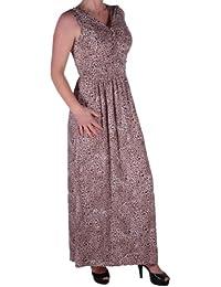 Eyecatch - Verity Damen V-Ausschnitt, armellos mit Ruschen besetzte Leopard Frauen Maxi Kleid One Size