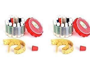 Home Essential Lot de 2 Kits de couture (inclure 2 x 12 bobines de fil, aiguilles à tricoter, avec bande)