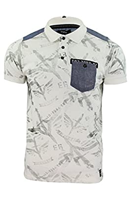 Mens Polo Shirt Firetrap 'Lowden' Shadow Print T Shirt Jersey Denim Trims