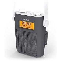 Majority Eversden Dab/Digital et FM Radio de Douche Rechargeable Portable, IPX5 résistant à l'eau, Bluetooth, entrée AUX, minuteur de Douche (Gris)