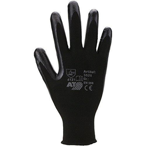 ASATEX Nitril-Handschuh auf Polyester Rundstrick 3520, schwarz, Gr. 8 (12 ()
