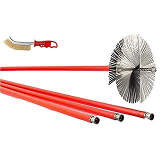 BARETTO – Kit deshollinador 10 metros – Cepillos de Acero 200mm – Cepillos de limpieza de chimenea caldera humo estufa de pellet