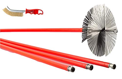 BARETTO - Kit deshollinador 10 metros - Cepillos de Acero 200mm -...