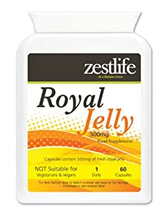 Zestlife Royal Jelly 500mg 60 capsules Health Related Benefits include Improved Immune System/ Healthy Skin/Hair/Nails/ Boosts Energy Levels