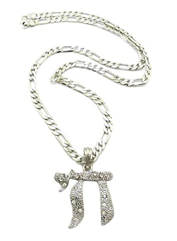 Fabuleux collier argent à pendentif du symbôle de Chai, orné