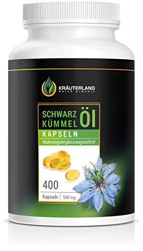 Kräuterland Schwarzkümmelöl Kapseln, hochdosiert mit 3000mg pro Tagesdosis, 400 Softgel Kapseln, direkt vom Hersteller, ägyptisch, kaltgepresst, 100{5f43ce147e4d79e970eff6ab840edcae16328aa1caf94f2d8bf5dec3f7e385ad} rein, laborgeprüft, Premium Qualität, Made in Germany