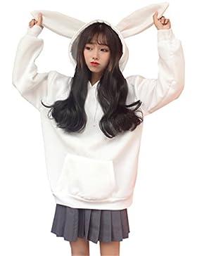 JOTHIN 2017 Donna Autunno Inverno Corea Ricamati Tinta Unita Pullover con Tasche Carino Orecchie di coniglio Felpe...