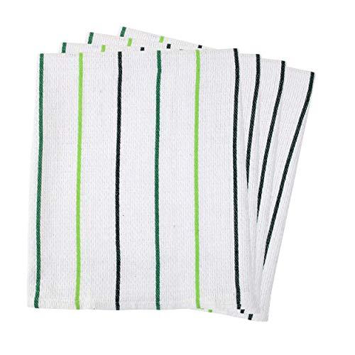 TheLinenBazaar Waffelmuster Küche Gericht Tuch Handtücher, Super Saugfähig, 100% Baumwolle Hand Geschirrtücher 66x 45,7cm Set von 4-Vintage Modern Gestreift Servietten - 18 x 27 inch Green Stripes
