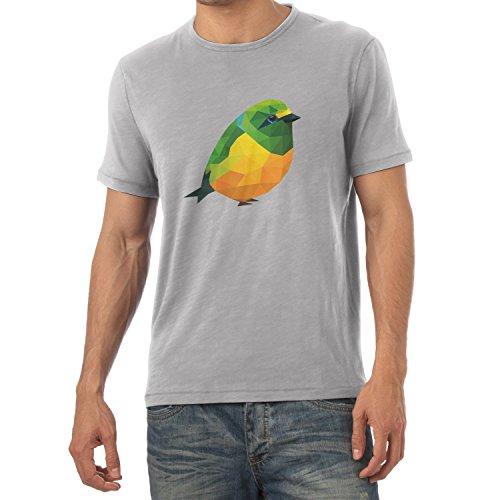 Texlab Polygon Vogel - Herren T-Shirt, Größe L, Grau Meliert (T-shirt Vögel Graphic)