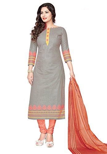 Salwar Studio Women's Grey & Peach Cotton Self Printed Dress Material with...