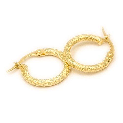ASS 585 Gold Paar Ohrringe Klappcreolen Klapp Creolen 20mm 2mm