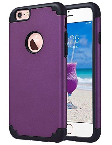 ULAK iPhone 6 Hülle, iPhone 6S Hülle Dual Layer Shockproof [Tropfenschutz] Schlank Hybrid Impact Skin Hülle für iPhone 6 6S (4.7 Zoll) (Lila/Schwarz)
