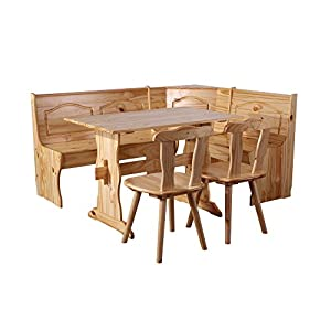SixBros. Eckbankgruppe Rusica, komplette Essecke, Esstisch mit Tisch und 2 Stühlen, Sitzgruppe aus Holz Kiefer Natur…