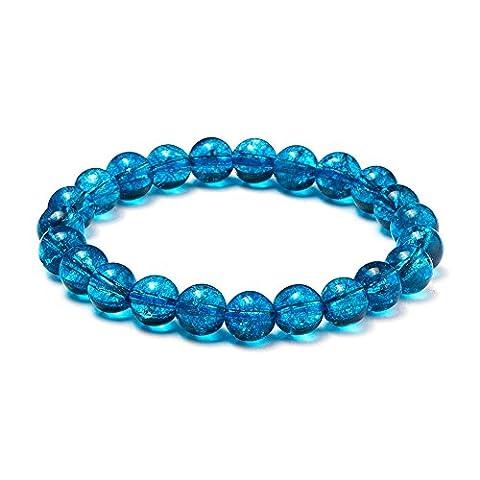 Sunnyclue Naturel véritable pierres précieuses craquelé à quartz Kyanite Bracelet stretch Perles rondes 8 mm environ 17,8 cm Unisexe