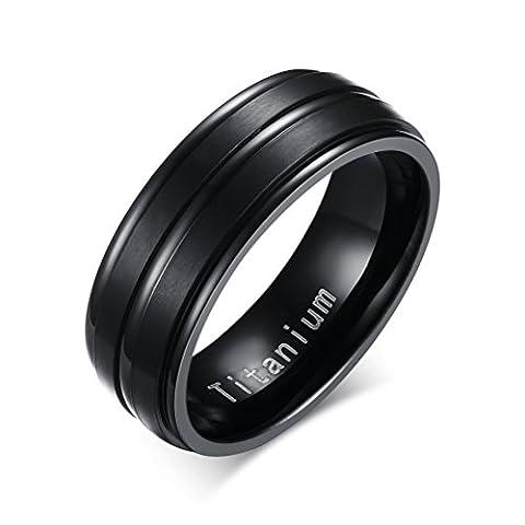 Vnox Titan Ring für Herren Hochzeit Band Engagement Versprechen,Mitte 2 Linien Matte fertig,schwarz
