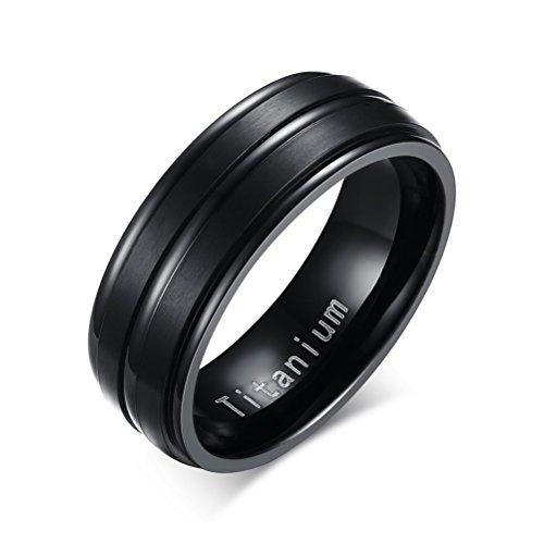 Anello in titanio da uomo, per matrimonio o promessa di fidanzamento, 2linee al centro, finitura opaca, colore nero e titanio, 19, cod. tr-012b-9