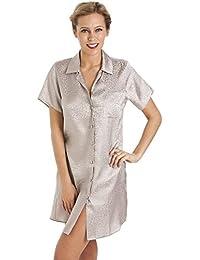 Chemise de nuit longueur genoux - motif imprimé - satin - marron