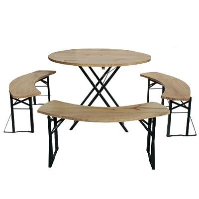 BRUBAKER Bierzeltgarnitur rund 1 Tisch mit 3 Bänken ca. 2,15 x 2,15 m Stellfläche