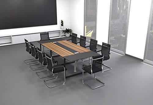 TOPREGAL ANJA Konferenztisch mit Kabelkanal für 10 BZW. 14 Personen (B280 x H75 x T120cm, ANJA280)