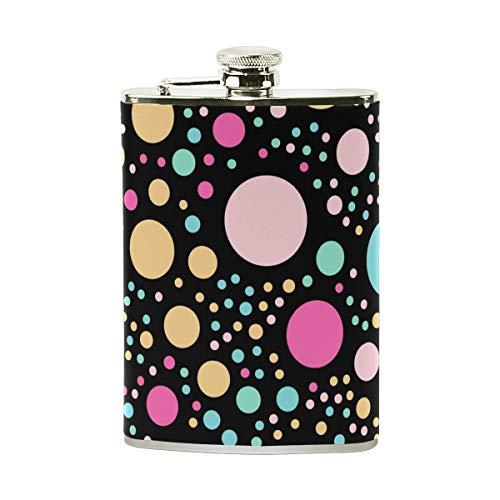 Orediy Petaca de acero inoxidable con diseño de lunares coloridos, con bolsillo, petaca portátil de 8 onzas, envuelta en cuero