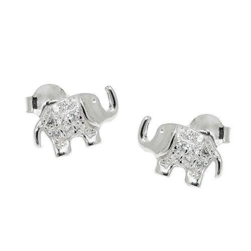 Pendientes de aro de Elefant de circonitas{925} de plata para niños