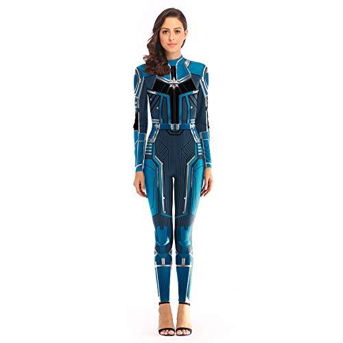 Flash Kostüm Blue - YXIAOL Überraschungskapitän, Superheld Kostüm, Avengers Cosplay Kostüm, Halloween Partykleid, 3D Lycra Strumpfhose,Blue-S/M