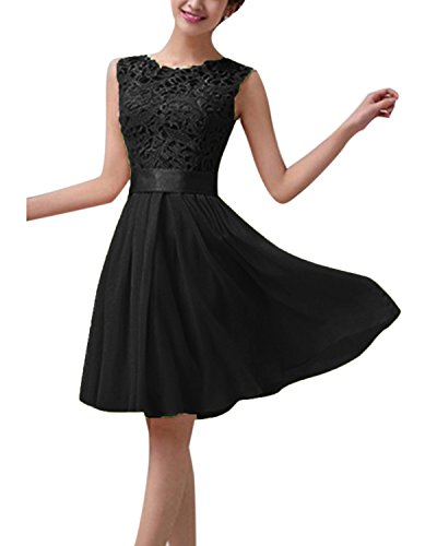ZANZEA Damen Spitze Ärmellos Party Club Kurz Slim Abend Brautkleid Cocktail Ballkleid Schwarz EU 38/US 6 (Schwarz ärmel Kleid Hochzeit Lange)