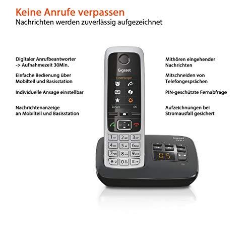 Gigaset C430A Telefon – Schnurlostelefon / Mobilteil – mit TFT-Farbdisplay / Dect-Telefon – mit Anrufbeantworter – Freisprechfunktion – Analog Telefon – Schwarz - 2