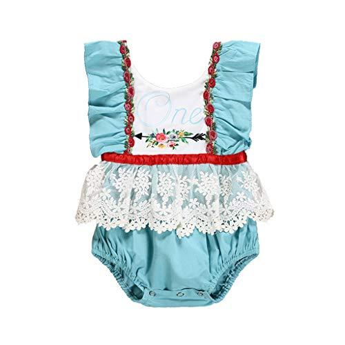 06b0deaf6de0b Vovotrade Barboteuse Jumpsuit Bébé Dentelle sans Manches Lettre Imprimer  Justaucorps Escalade Costume Infant Bébé Floral Dent