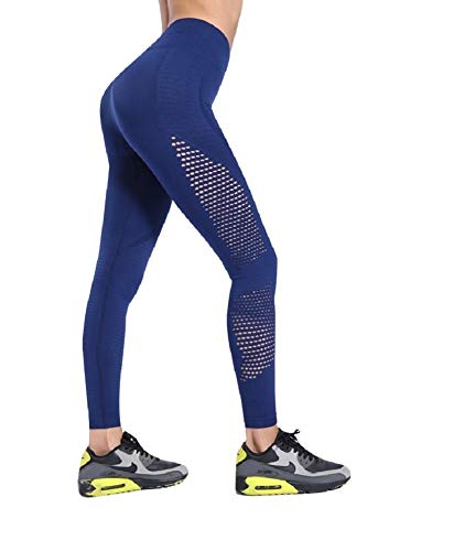 Ducomi SKY Leggings Fitness Donna - Vita Alta Snellente ed Effetto Alzagluteo Modellante - Leggins Elasticizzato per Curve Sensazionali - Praticità e Sensualità Quotidiana (Blue, M)