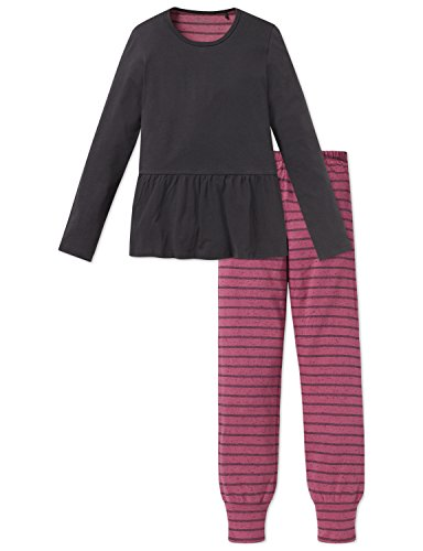 Schiesser Rebel Mädchen Anzug lang Zweiteiliger Schlafanzug, Grau (Anthrazit 203), 140 (Herstellergröße: XS)